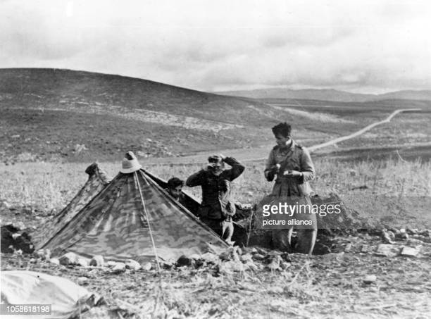 The Nazi propaganda picture shows soldiers of the German Wehrmacht in a tent in Tunisia The photo was taken in January 1943 Photo Berliner Verlag /...