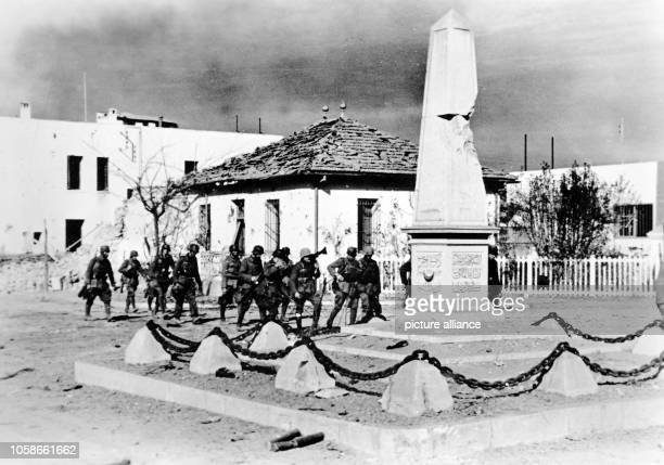 The Nazi propaganda picture shows soldiers of the German Wehrmacht in the conquered city Tebourba in Tunisia The photo was taken in December 1942...