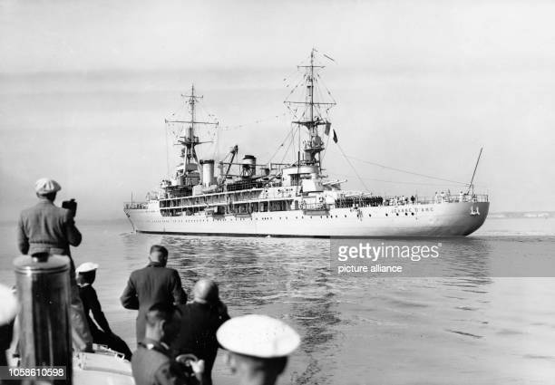 The Nazi propaganda picture shows the French warship Jeanne d'Arc as it arrives in the port in Kiel Germany 1937 Photo Berliner Verlag / Archive