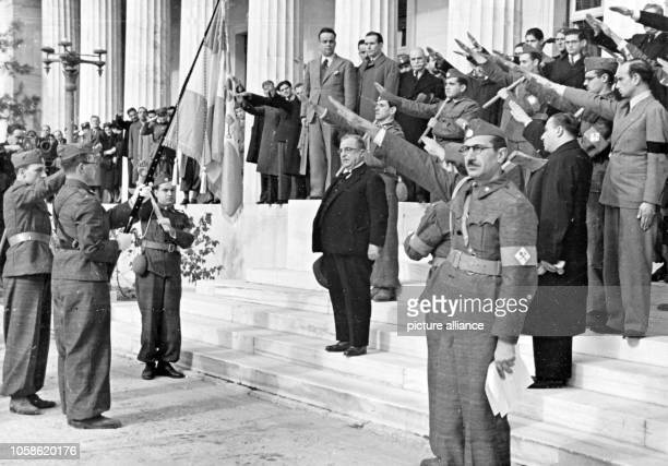 The Nazi propaganda picture shows the Greek dictator Ioannis Metaxas in Athens in the midst of members of the newly founded Greek labour service All...