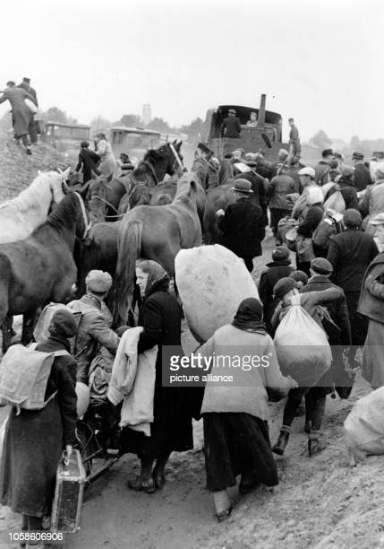 The Nazi propaganda picture shows Volksdeutsche refugees who returned to their hometown Dirschau after the German army conquered Polish territory in...