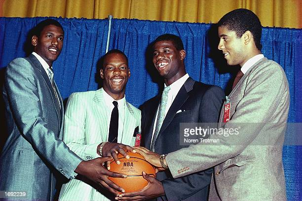 The NBA 1986 top draft choices pose for a portrait after being selected in the first round : William Bedford, Len bias, Chris Washburn and Brad...