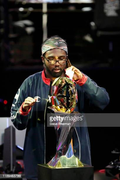 The NBA 2k Championship Trophy is cleaned during Game Three of the NBA 2K League Finals on August 3 2019 at the NBA 2K Studio in Long Island City New...