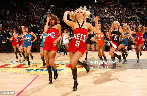 The NBA AllStar dance team performs during Footlocker ThreePoint Shootout at NBA AllStar Weekend on February 17 2007 at the Thomas Mack Center in Las...