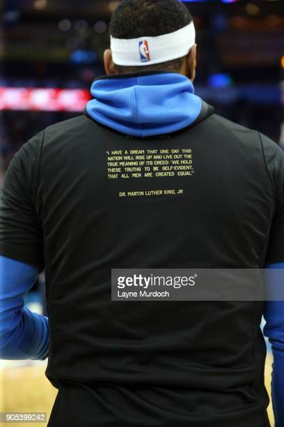 The NBA and Carmelo Anthony of the Oklahoma City Thunder honor Black History Month on January 15 2018 at Chesapeake Energy Arena in Oklahoma City...