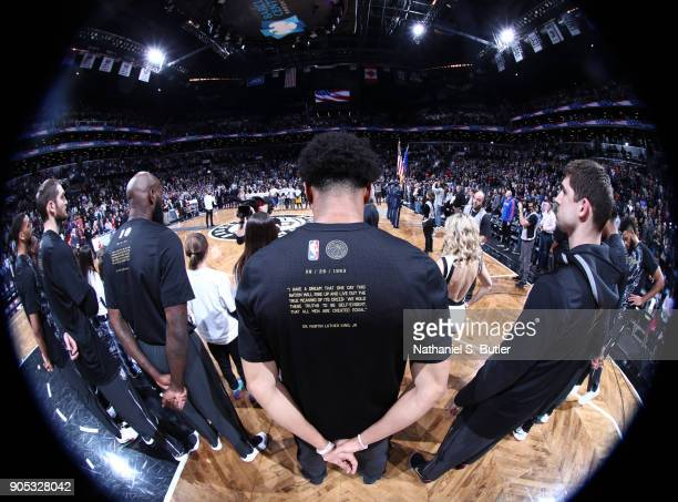 The NBA and the Brooklyn Nets celebrate Black History Month before the game against the New York Knicks on January 15 2018 at Barclays Center in...