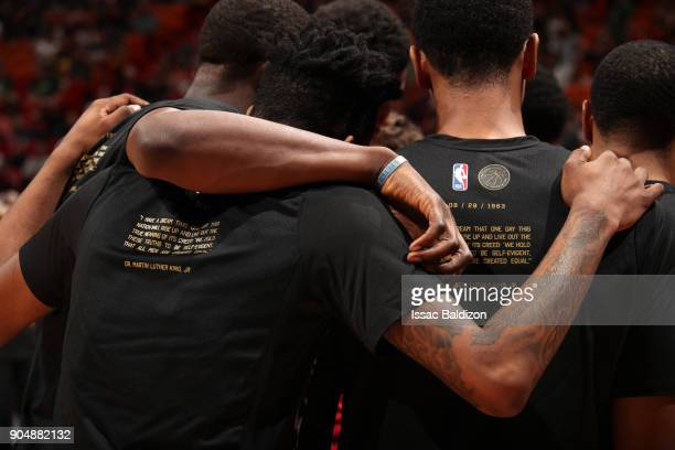 The NBA and the Miami Heat celebrate Black History Month before the game between the Miami Heat and the Milwaukee Bucks on January 14 2018 at...