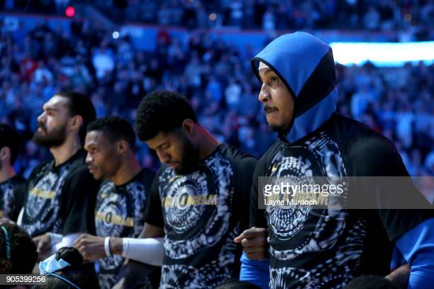 The NBA and the Oklahoma City Thunder honor Black History Month and the National Anthem before the game against the Sacramento Kings on January 15...