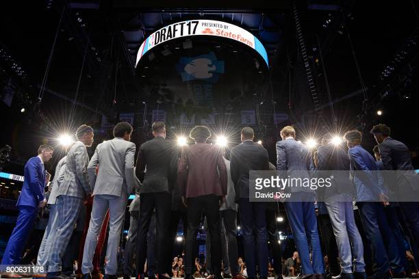 The NBA Draft Picks all stand on stage as they pose or a portrait during the 2017 NBA Draft on June 22 2017 at Barclays Center in Brooklyn New York...
