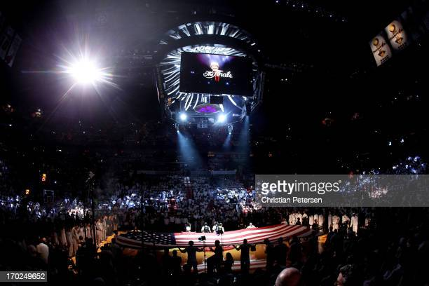 The NBA Finals logo is seen during the national anthem before Game Two of the 2013 NBA Finals between the Miami Heat and the San Antonio Spurs at...