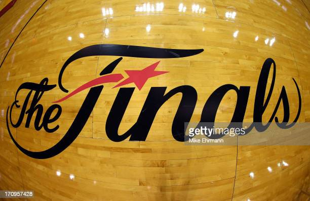 The NBA Finals logo is seen on the court before Game Seven of the 2013 NBA Finals between the Miami Heat and the San Antonio Spurs at...