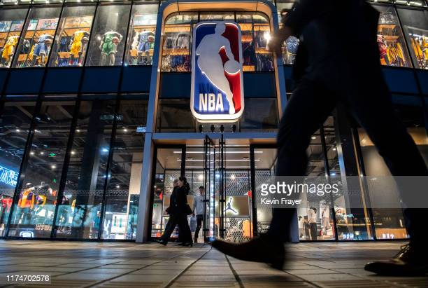 The NBA flagship retail store is seen on October 9 2019 in Beijing China The NBA is trying to salvage its brand in China amid criticism of its...
