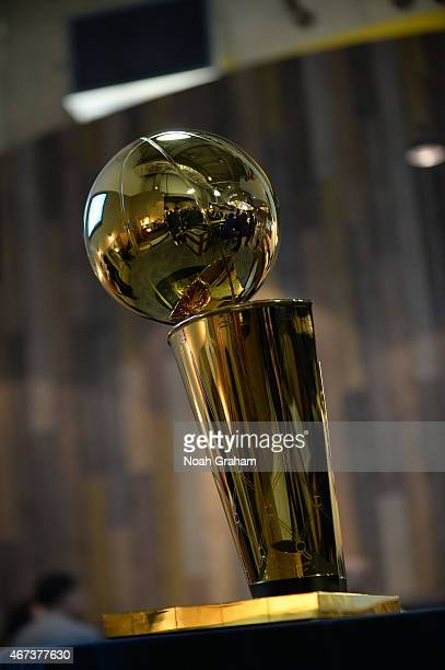 The NBA Larry O'Brien Trophy on display on March 23 2015 at Oracle Arena in Oakland California NOTE TO USER User expressly acknowledges and agrees...