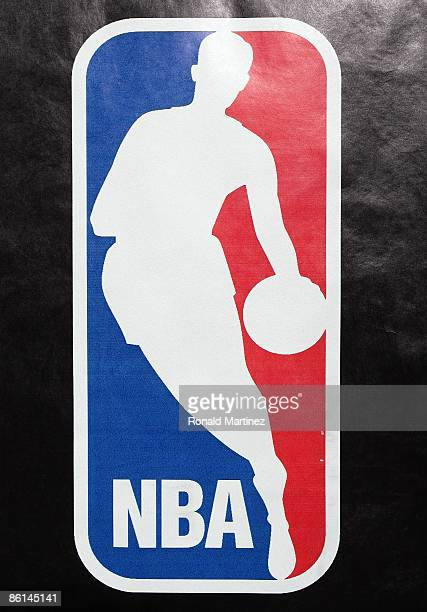 The NBA logo after a game between the Dallas Mavericks and the San Antonio Spurs in Game One of the Western Conference Quarterfinals during the 2009...
