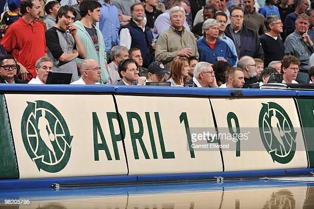 The NBA marks the first day of green week during the Denver Nuggets game against the Portland Trail Blazers on April 1 2010 at the Pepsi Center in...