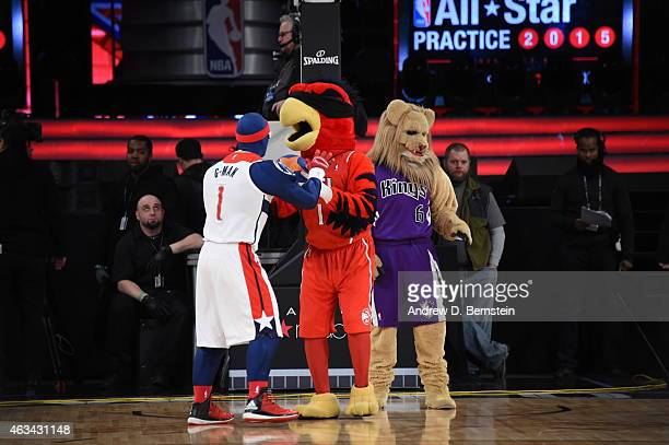 The NBA mascots participate in a dunk contest during NBA AllStar Practice as part of 2015 AllStar Weekend at Madison Square Garden on February 14...