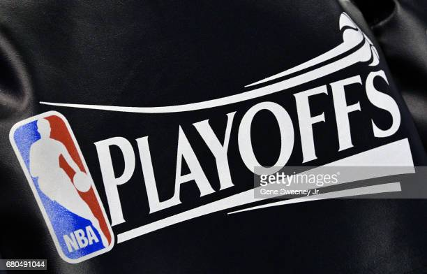 The NBA Playoff logo seat covering on the Utah Jazz team's chairs before their game against the Golden State Warriors in Game Four of the Western...