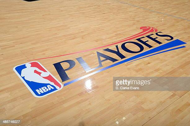 The NBA Playoffs logo before Game One of the Western Conference Quarterfinals during the 2014 NBA Playoffs with the Dallas Mavericks against the San...