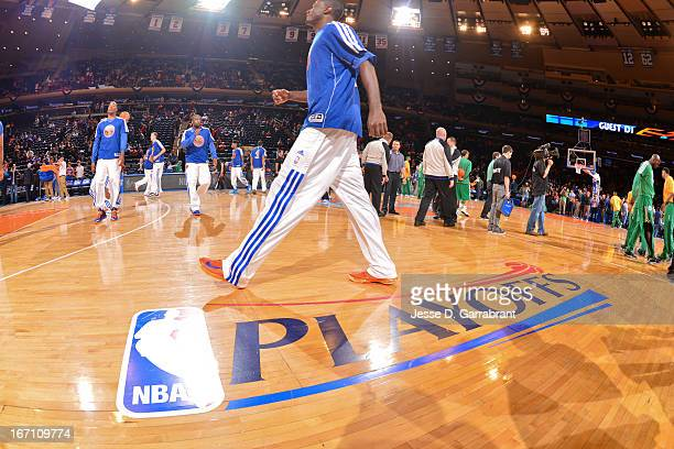 The NBA Playoffs logo is displayed on the court before the Boston Celtics play the New York Knicks in Game One of the Eastern Conference...