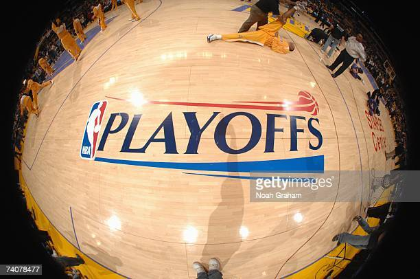 The NBA Playoffs logo is shown on the court before the Phoenix Suns game against the Los Angeles Lakers in Game Three of the Western Conference...