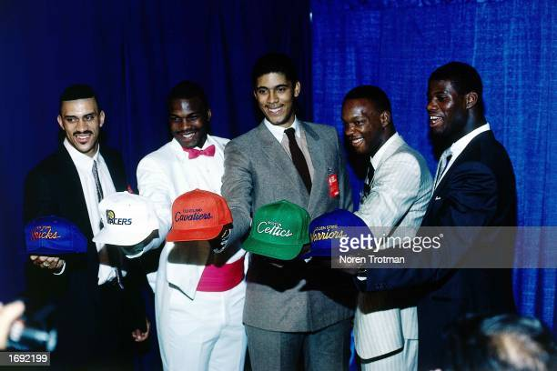 """The NBA top first round draft picks in 1986 from : Kenny """"Sky"""" Walker, Chuck Person, Brad Daugherty, Len Bias and Chris Washburn in New York, New..."""