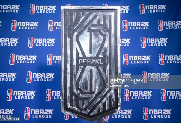 The NBA2K The Ticket Trophy is on display during Day 1 of The Ticket Tournament for the NBA 2K League on July 12 2018 at the NBA 2K Studio in Long...
