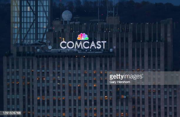 The NBC Comcast logo sits at the top of 30 Rock at Rockefeller Center as seen from the Empire State Building on December 15, 2020 in New York City.