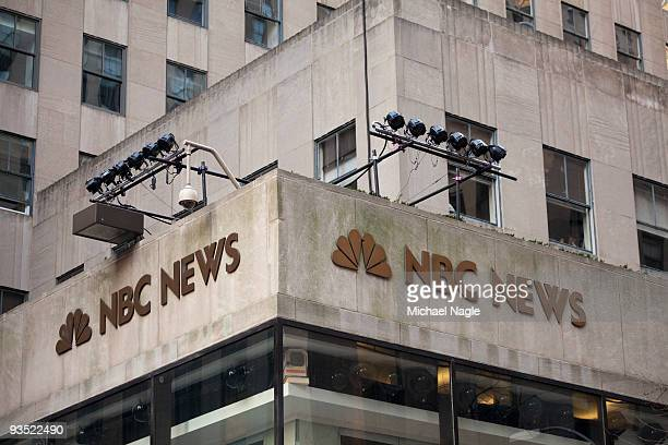 The NBC News logo is affixed to the corner of 10 Rockefeller Plaza, NBC's today show studio on December 1, 2009 in New York City. General Electric is...
