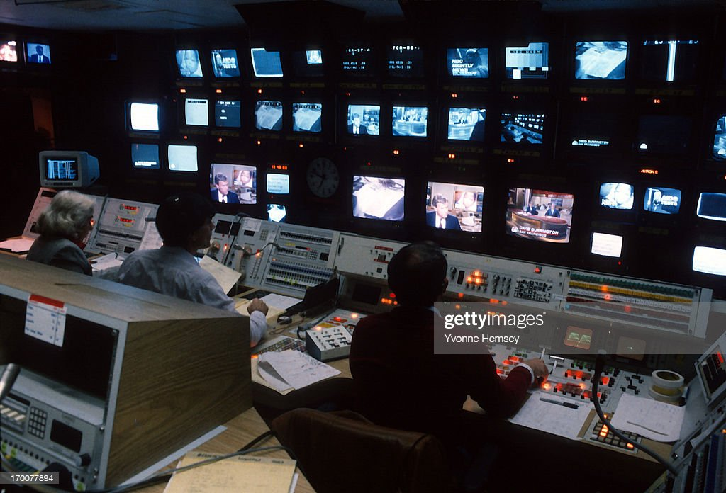The NBC Nightly News control room is photographed November 4, 1987 in New York City.