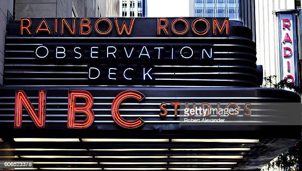 The NBC Studios marquee in New York City's Rockefeller Plaza identifies the entrance to the television network's studios and the building's...