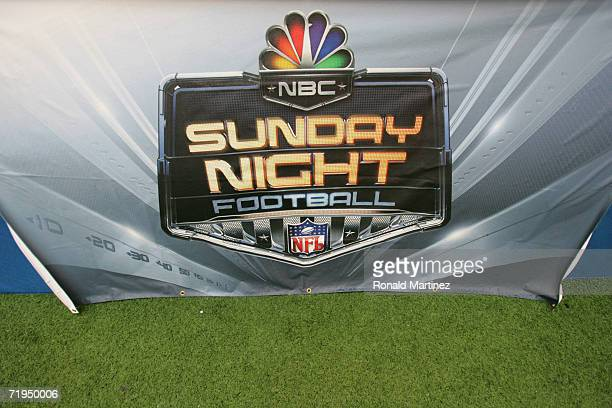 The NBC Sunday Night Football logo is shown during the Washington Redskins game against the Dallas Cowboys at Texas Stadium on September 17 2006 in...