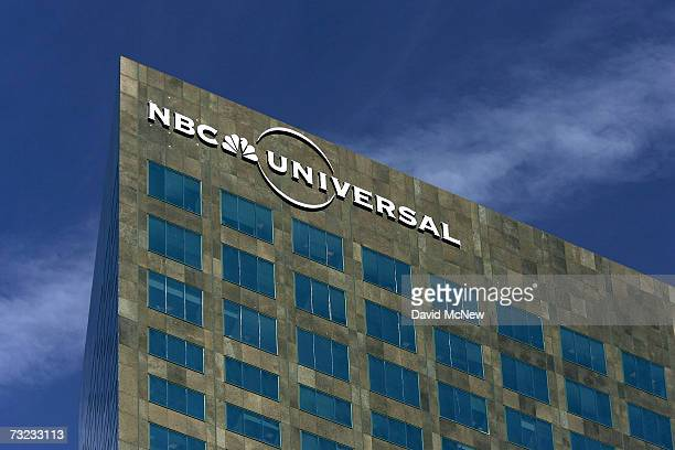 The NBC Universal logo hangs on its headquarters building February 6, 2007 in Los Angeles, California. NBC announced today the appointment of Jeff...