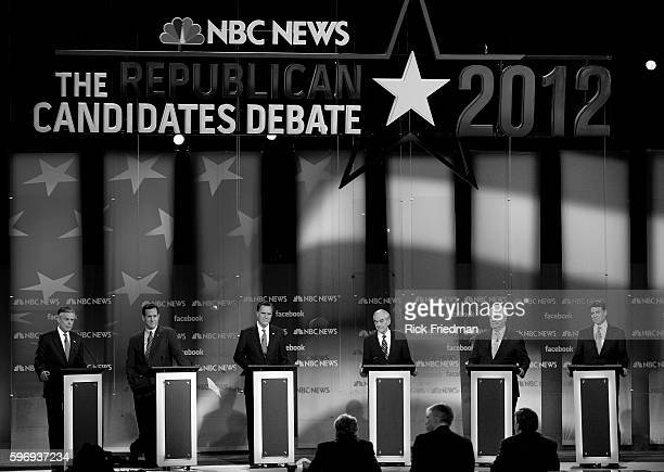 The NBCFacebook Republican presidential candidates debate between John Huntsman Rick Santorum MItt Romney Ron Paul Newt Gingrich and Rick Perry at...