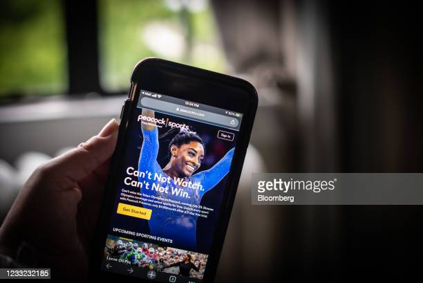The NBCUniversalPeacockstreamingservice website announcing its Tokyo Olympics coverage on a smartphone arranged in Dobbs Ferry, New York, U.S., on...