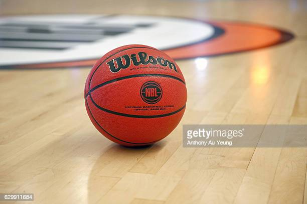 The NBL game ball is seen prior to the round 11 NBL match between New Zealand Breakers and Perth Wildcats at Vector Arena on December 15 2016 in...