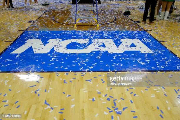 The NCAA Logo covered in confetti after the NCAA Division II Final Four Championship basketball game between the Northwest Missouri State Bearcats...