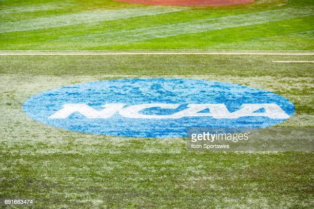 The NCAA logo during the Lexington Regional College World Series baseball game between the Kentucky Wildcats and the Ohio Bobcats on June 2 at Cliff...