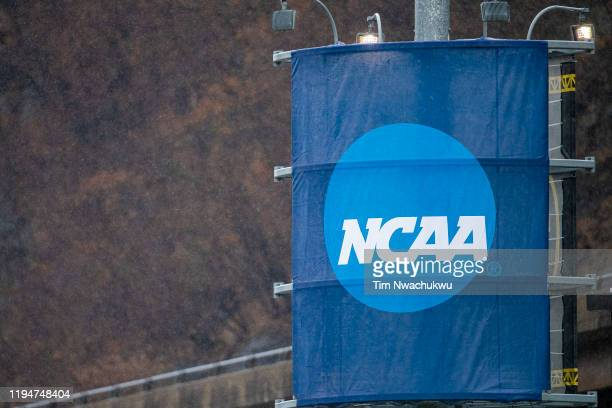 The NCAA logo is seen during the Division II Women's Soccer Championship held at Highmark Stadiumon December 14, 2019 in Pittsburgh, Pennsylvania....