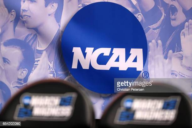 The NCAA logo is seen in the second half of the game between the Northwestern Wildcats and the Vanderbilt Commodores during the first round of the...
