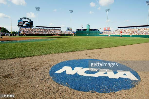 The NCAA logo is shown on the field before the Oregon State Beavers game against the North Carolina Tar Heels during game one of the NCAA College...