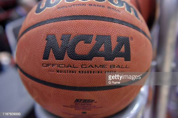The NCAA logo on a basketball at the Prudential Center before the game between the Maryland Terrapins and the Seton Hall Pirates on December 19, 2019...