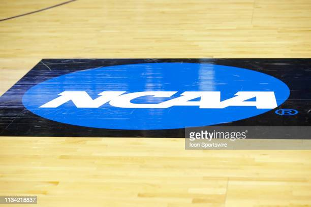 The NCAA Logo on display prior to the NCAA Division II Final Four Championship basketball game between the Northwest Missouri State Bearcats and the...