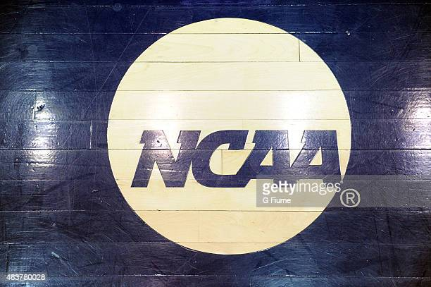 The NCAA logo on the court before the game between the George Washington Colonials and the Richmond Spiders at the Charles E Smith Athletic Center on...