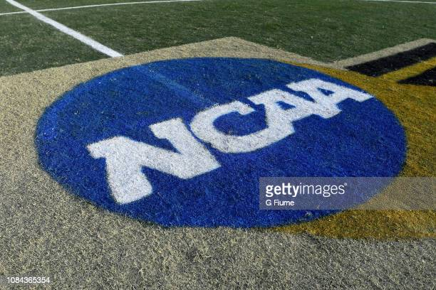 The NCAA logo on the field before the Division I Men's Soccer Championship between the Maryland Terrapins and the Akron Zips held at Meredith Field...