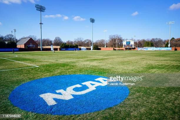 The NCAA logo on the field during the Division III Women's Soccer Championship held at UNCG Soccer Stadium on December 7, 2019 in Greensboro, North...