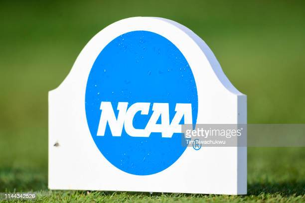 The NCAA Photos via Getty Images logo is seen during the Division III Men's Golf Championship held at Keene Trace on May 17 2019 in Nicholasville...