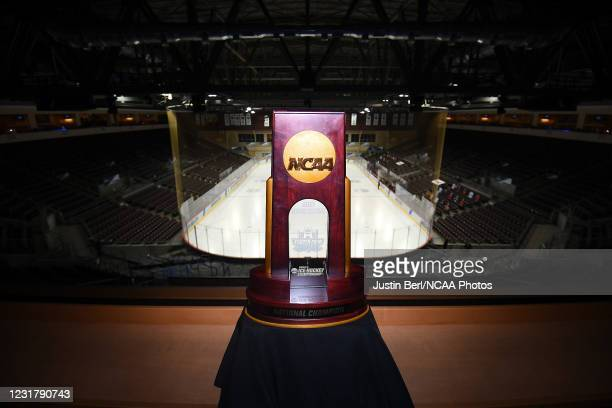 The NCAA Women's Ice Hockey Championship trophy is seen during the Division I Women's Ice Hockey Championship held at Erie Insurance Arena on March...