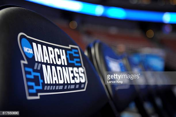 The NCAA's 'March Madness' logos are seen on chair backs during the West Regional Semifinal of the 2016 NCAA Men's Basketball Tournament at Honda...