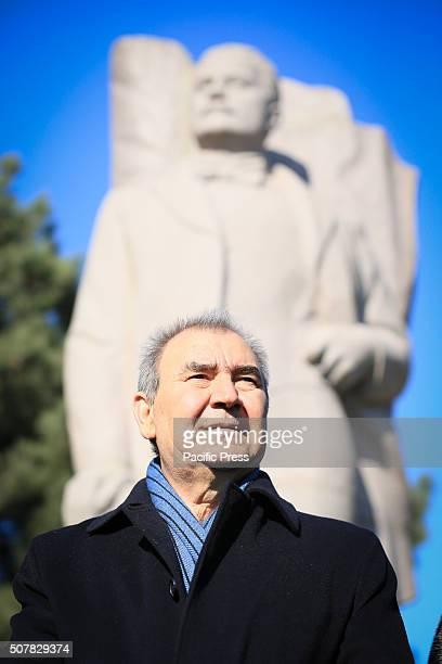 The NCDF leader Jamil Hasanli speaks during a rally 132nd birth anniversary of Mammad Amin Rasulzade