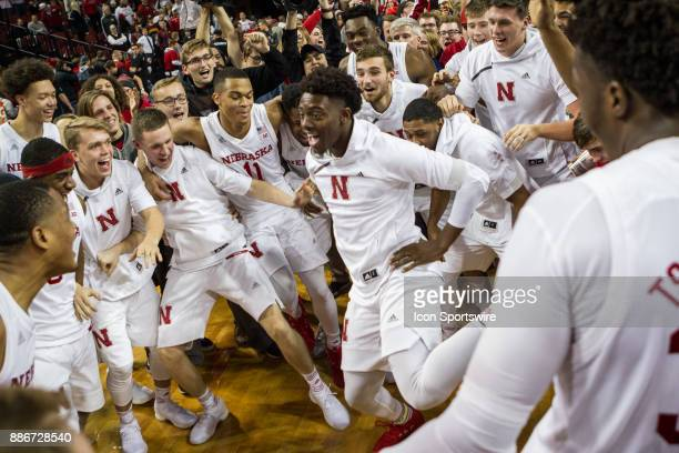 The Nebraska basketball team and the student body celebrates the win voer Minnesota Tuesday December 5th at Pinnacle Bank Arena in Lincoln Nebraska...